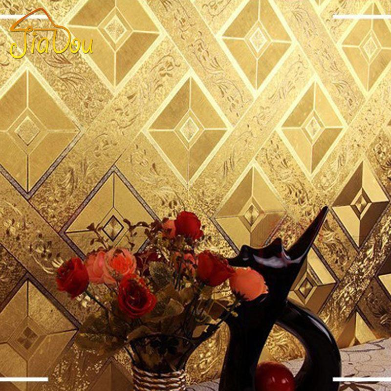 Luxury Classic Golden Wallpaper Roll Modern KTV Bar Gold Foil Glitter WallCovering Home Decor PVC Waterproof High Quality Wall
