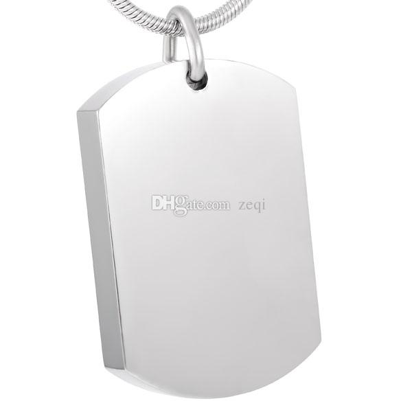 IJD8416 gratuito Gravura em branco Dog Tag aço inoxidável Cremação Colar Pingente de memória Ashes lembrança Urna Colar Funeral