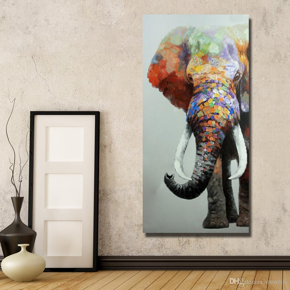 Top quality cartoon animal elephant oil painting africa wild animal wall pictures for thai restaurant decoration