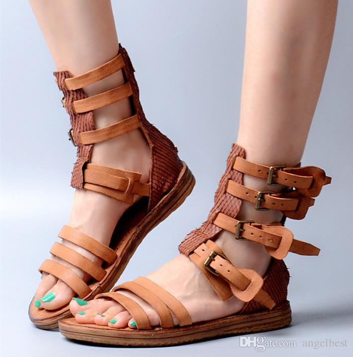 8f9d673e900e Real Leather Rome Style Women Flat Sandals Summer Buckles Strap Pathwork Gladiator  Sandals Boots Casual Beach Shoes UK 2019 From Angelbest