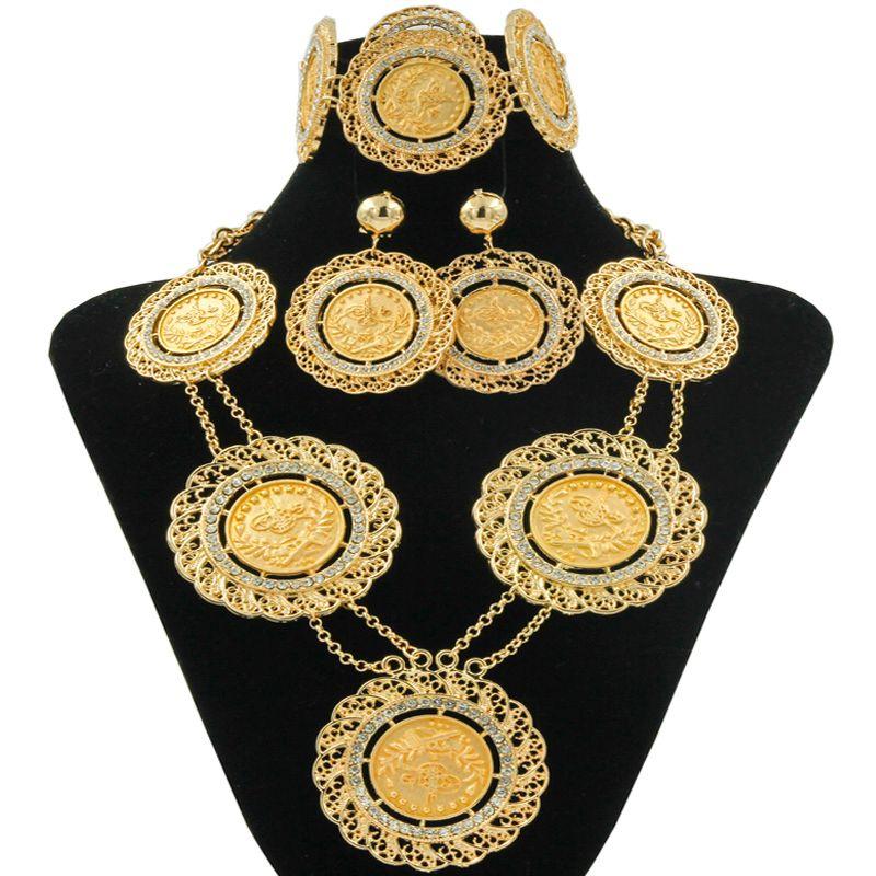 511ccdbb4e330 Italia Fashion Dubai Big Gold Coin Set di gioielli Lunga catena Accessori  Donna Charms Matrimonio Collana Orecchini Bracciale Anello Set