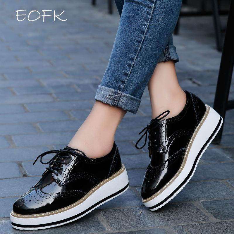 463fc688734586 EOFK Spring Genuine Leather Women Flat Platform Shoes Brogue Vintage Shoes  For Women Patent Leather Female Derbies Footwear Orthopedic Shoes Womens  Sandals ...