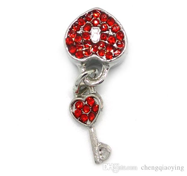 10x29mm mix colo rhinestone big hole сплава бусины lock и key shape fit Европейский браслет DIY