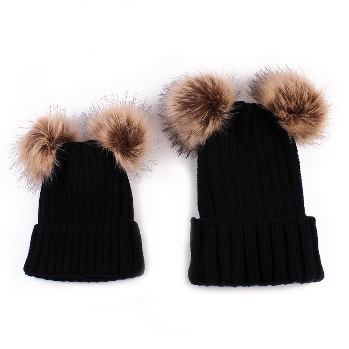 98afb68a9dd 2019 Set Family Matching Hat Autumn Baby Girls Boys Winter Warm Gorros Para  Bebe Faux Fur Pompom Ball Kids Knitted Beanies Hat From Kidsonlineshop