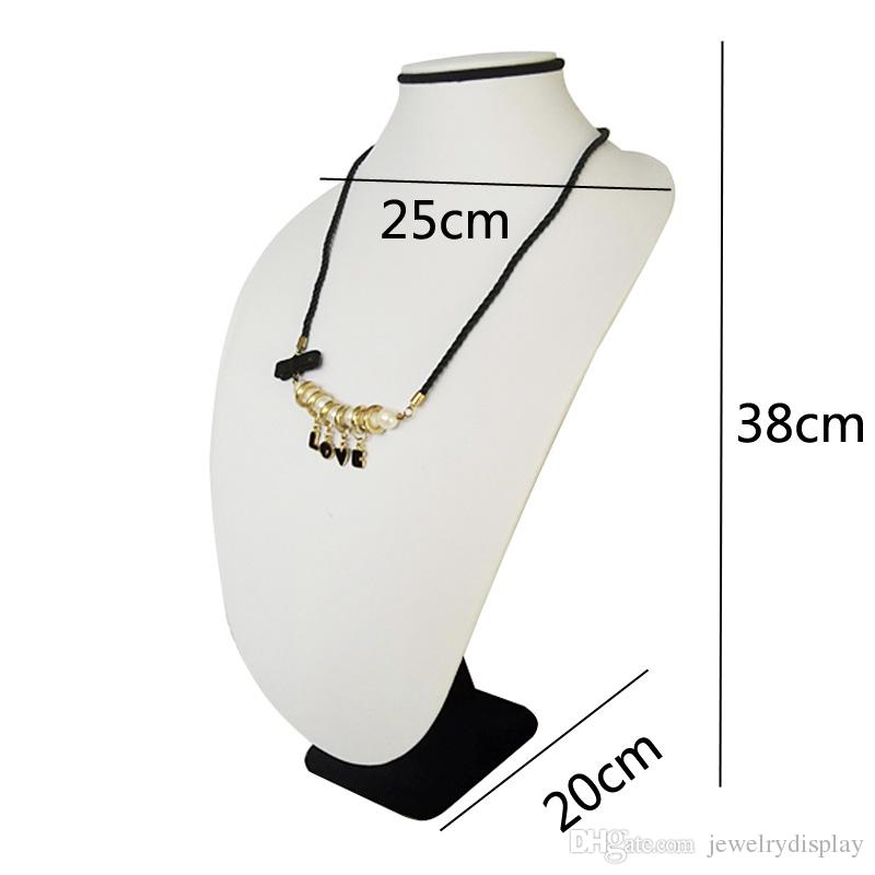 Large Size 38CM Black Velvet Necklace Display Stand Whtie Leather Necklace Holder Jewelry Display Stand Rack