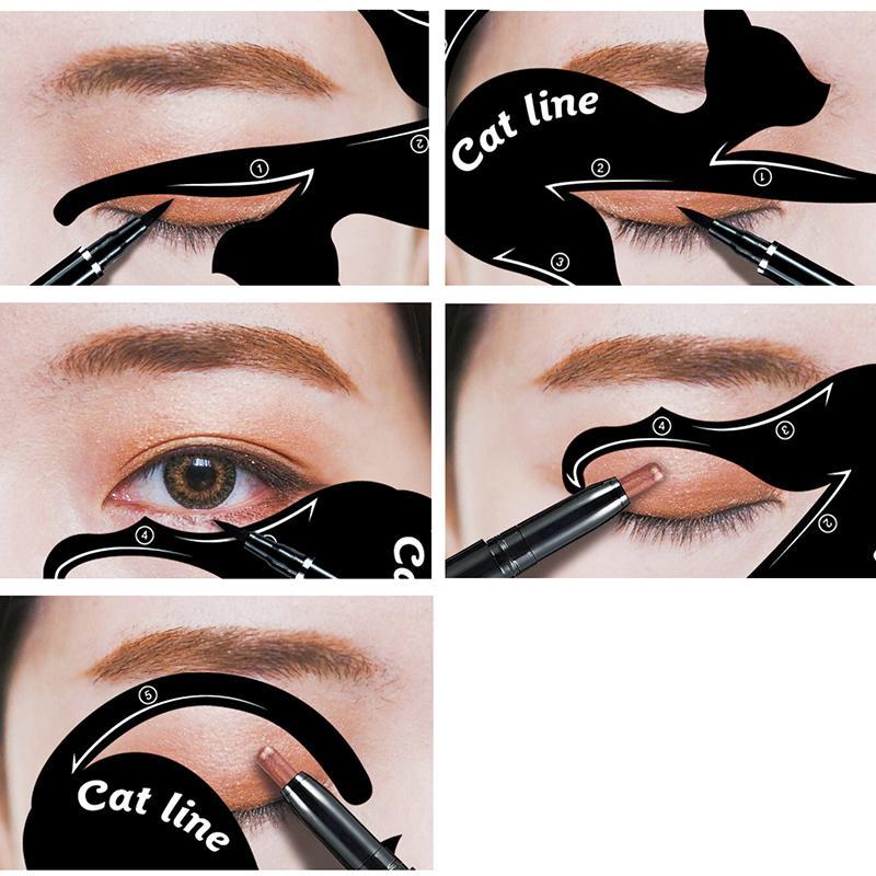حار شعبي سهل ظلال العيون كحل المكياج أدوات القط كحل قالب الاستنسل كيت ماكياج بطاقة
