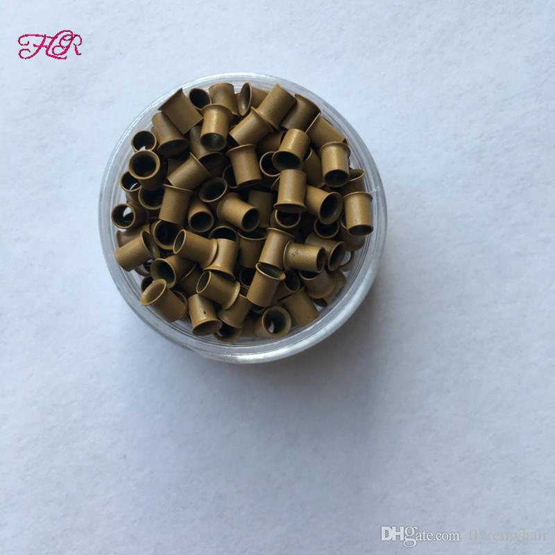 Cobre Flared Micro Anel 3.2x2.8x4.0mm Venda Quente Easilylocks Mini Contas Para Eu ponta cabelo
