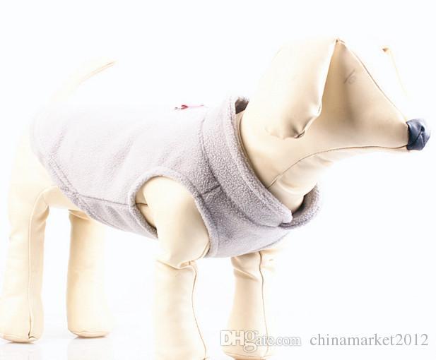 Envío gratis pet dog cachorro gato suave comodidad exterior de lana polar abrigo de invierno ropa chaleco seis colores para elegir