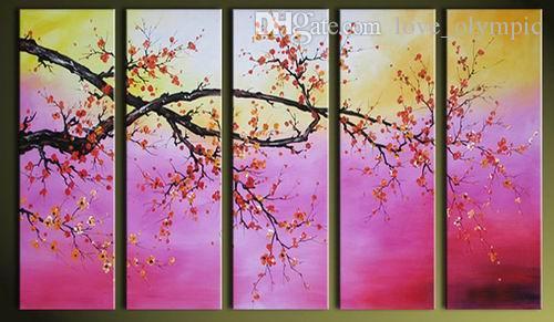 Emoldurado pintados à mão alta flor de ameixa asiática qualidade pintura a óleo sobre tela parede casa decoração arte moderna abstrata pinturas multi tamanhos 524