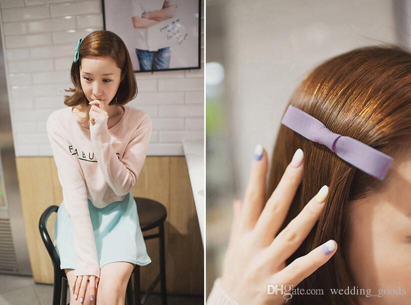 Best gift Classic new hair ornaments solid color cloth bowknot clip jewelry word paste duckbill folder FJ010 a