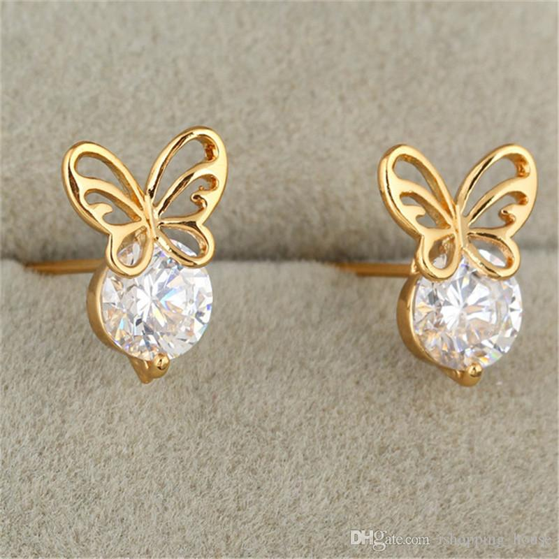 Fashion Baby Jewelry Stud Earrings New 18K Yellow Gold Plated Cubic  Zirconia CZ Mini Butterfly Earrings Lovery Earrings for Kids for Baby Stud  Earrings ... 276a3273a1c4