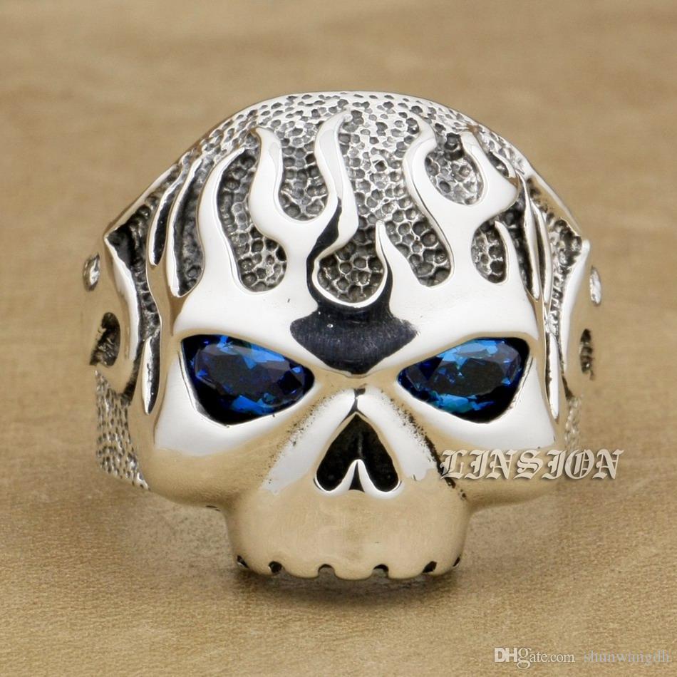 LINSION Huge Heavy 925 Sterling Silver Fire Skull Blue CZ Eyes Mens Biker Rocker Punk Ring 8D106 US Size 7 ~ 15