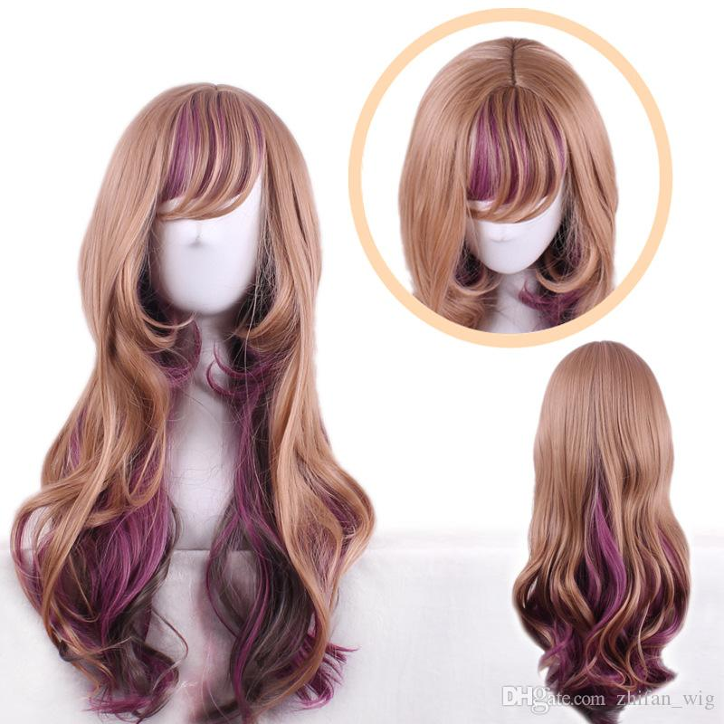 Zf Lolita Hair Wigs 24 Inch Mixed Ombre Colors Purple Brown Rose
