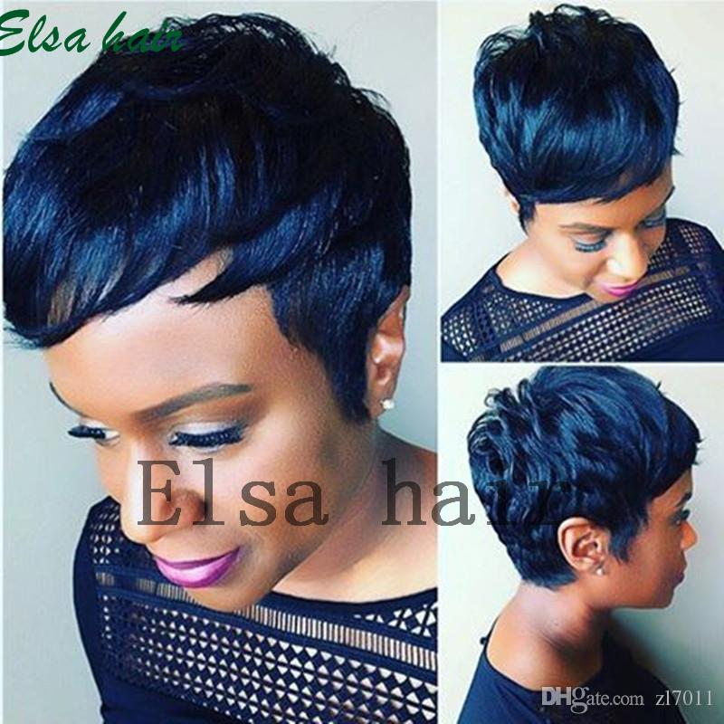 New Arrival Rihanna Hairstyle Human Hair Wig Straight Short Pixie