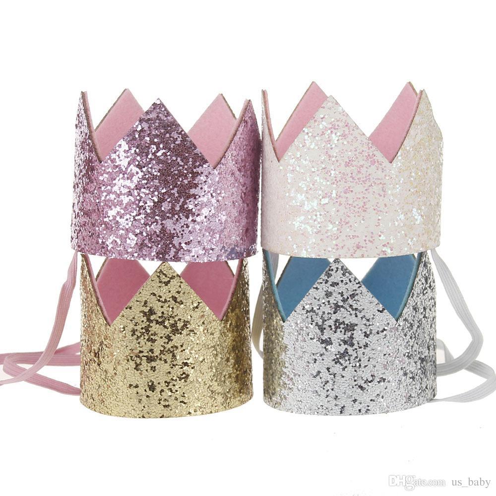 소녀 크라운 머리띠 아기 장식 조각 무지개 꽃 반짝이 골드 생일 파티 헤어 액세서리 아름다운 케이크 모자 헤어 밴드