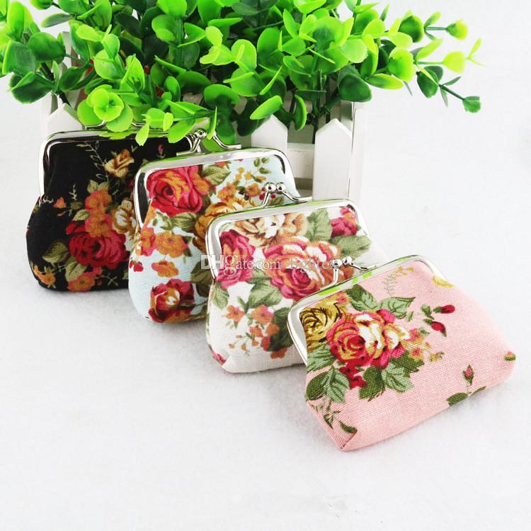 패션 빈티지 꽃 인쇄 화려한 캔버스 행크 동전 지갑 미니 여성 키 블로섬 동전 주머니 지갑
