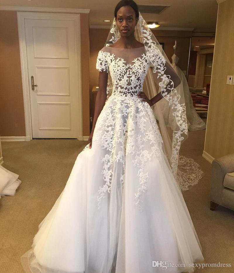 Pura Sheer Neck Vestidos de Casamento 2018 Rendas Apliques Ver Através de Vestidos De Noiva Uma Linha de Tule Até O Chão Vestidos de Casamento Barato