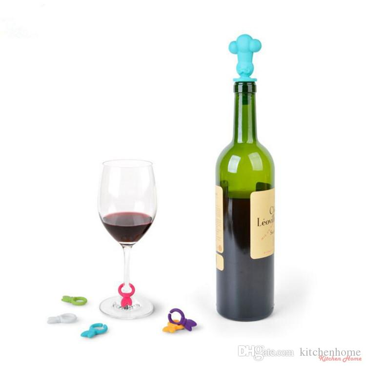 Creative Cartoon Wine Stoppers Silicone Red Wine Bottles Glass Cups Marker and Stopper Set