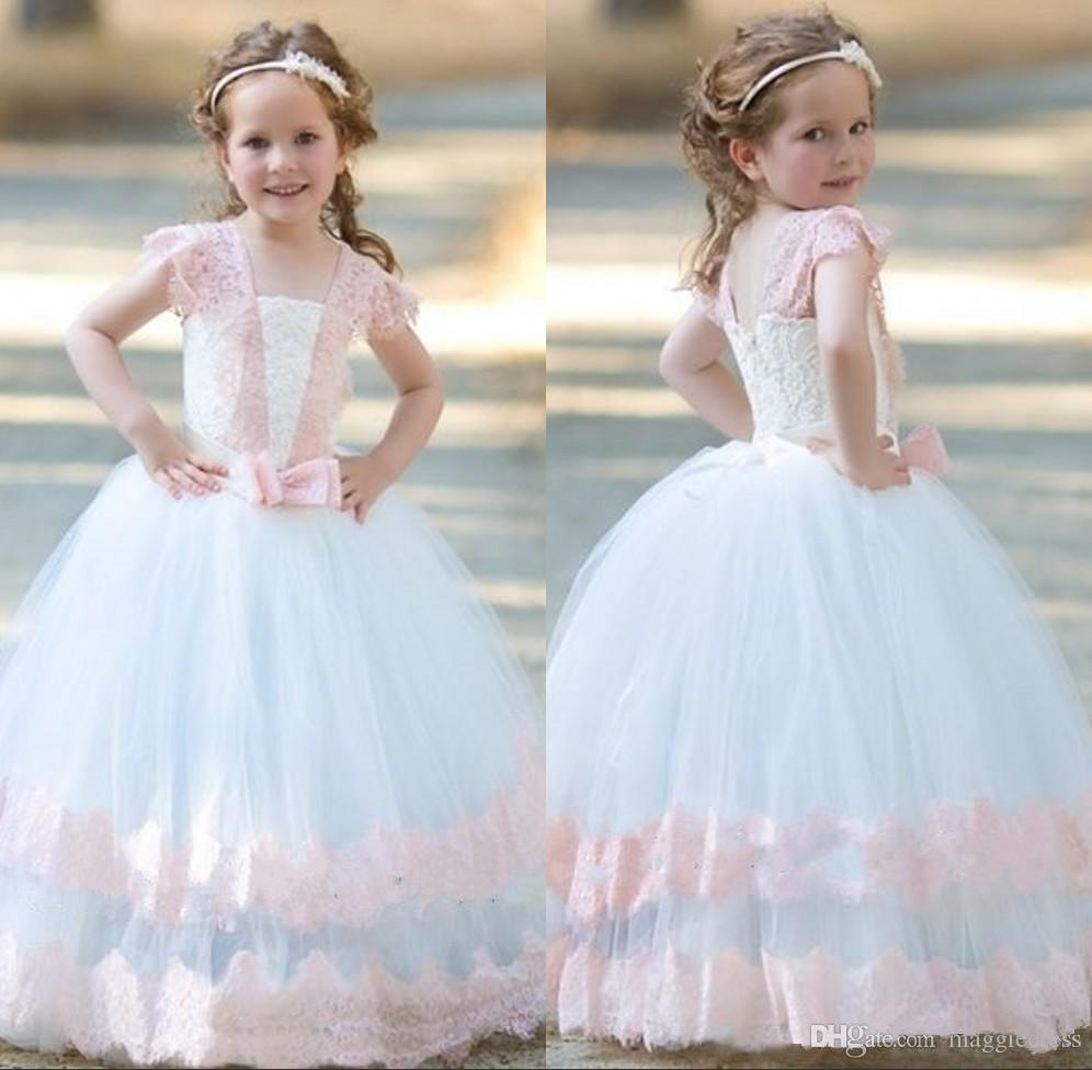 Newest White And Pink Princess Communication Gowns For Little Girls Ruffle Tulle Tutu Gown Floor Length Romantic Flower Girl Dresses