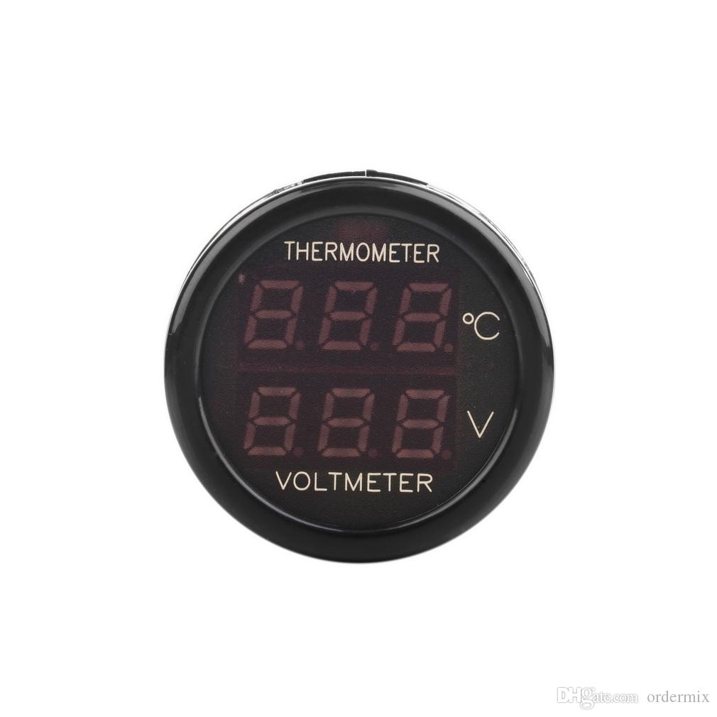 2 In 1 Car Auto 12V Dual Display LED Digital Thermometer Voltmeter temperature Volt meter Cigarette lighter Charger