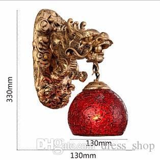 Vintage China Style Harz Drachen Wandleuchte Luxus Beleuchtung E27 Glas Lampenschirm Dekoration Top Fashion Wohnzimmer Flur