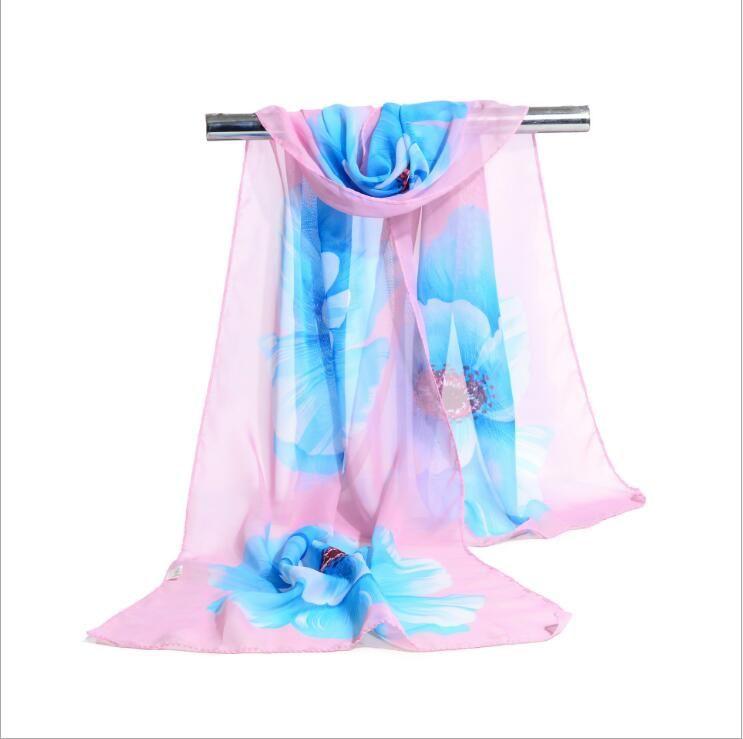 Factory Cheap Woman Scarf Silk Brand Luxury Print Flower Polyester Ladies Chiffon Scrawl Flower Printed Wrap Scarf 160*50cm