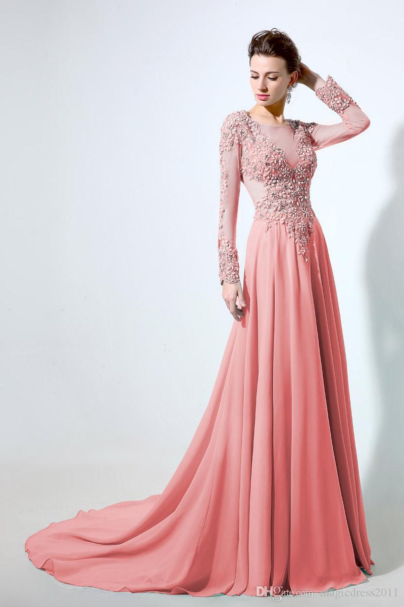 Luxo Aqua Chiffon A linha Ebening vestidos com mangas compridas 2019 Profundo decote em V Lace Formal Vestidos de Baile até o chão robe de soiree regresso a casa