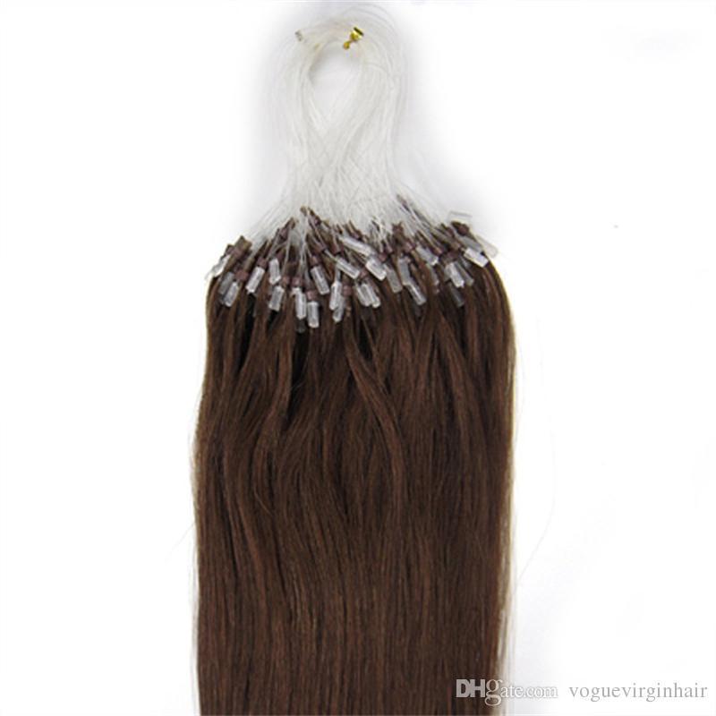 Yeni Varış 14-26 Inç # 4 Düz Brezilyalı Mikro Halka Döngü Saç Uzantıları hiçbir arapsaçı hızlı kargo stokta