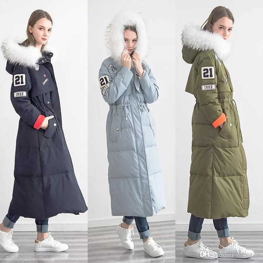 2018 2017 Streetwear Wide Waisted Fit Women Long Down Coat White ...