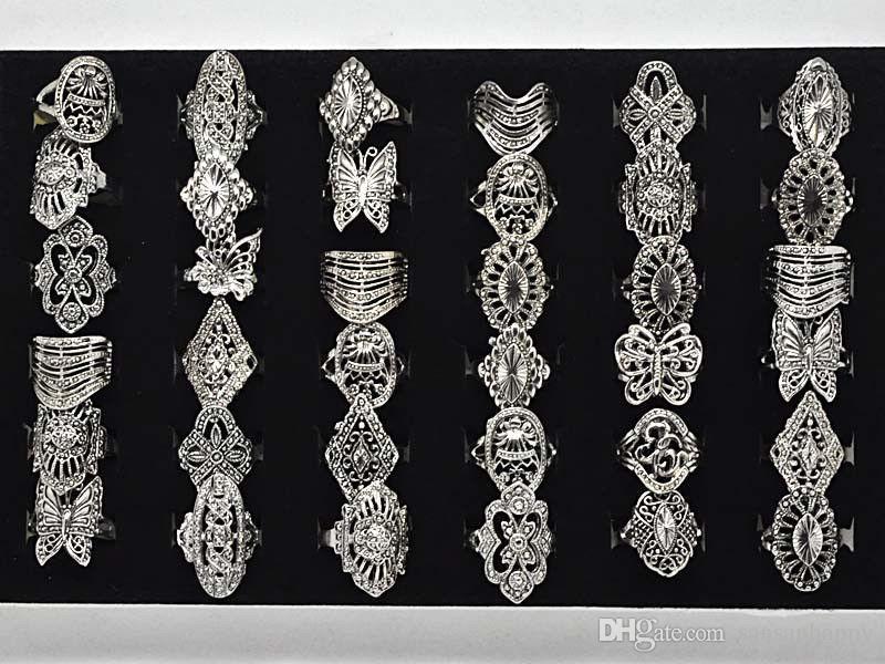 Groothandel 100 stks Stijlvolle elegante legering ring sieraden gemengde stijl Tibet zilveren vintage ringen gratis verzending