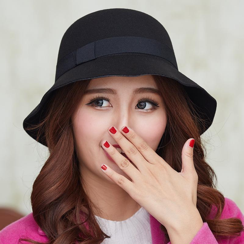 Women Wool Felt Fedora Hats Fashion Ladies Girls Stingy Brim Bucket ... f91592135c3f