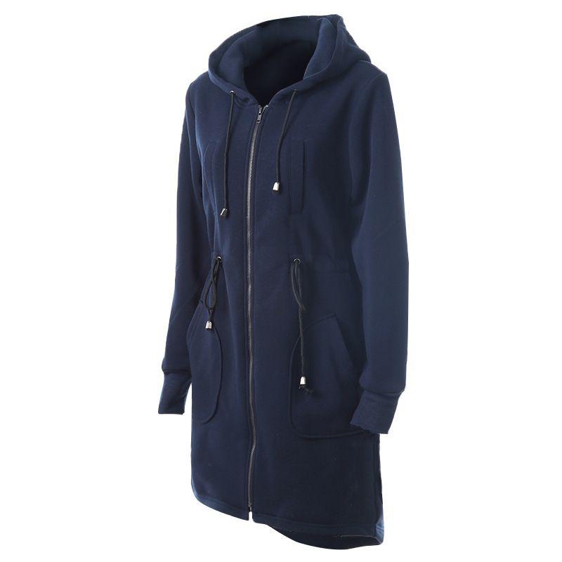 Специальный Роман европейский повседневная женщины длинная длина стиль толстовки с длинным рукавом тонкий теплый кофты с строка с капюшоном женщины синий кофты