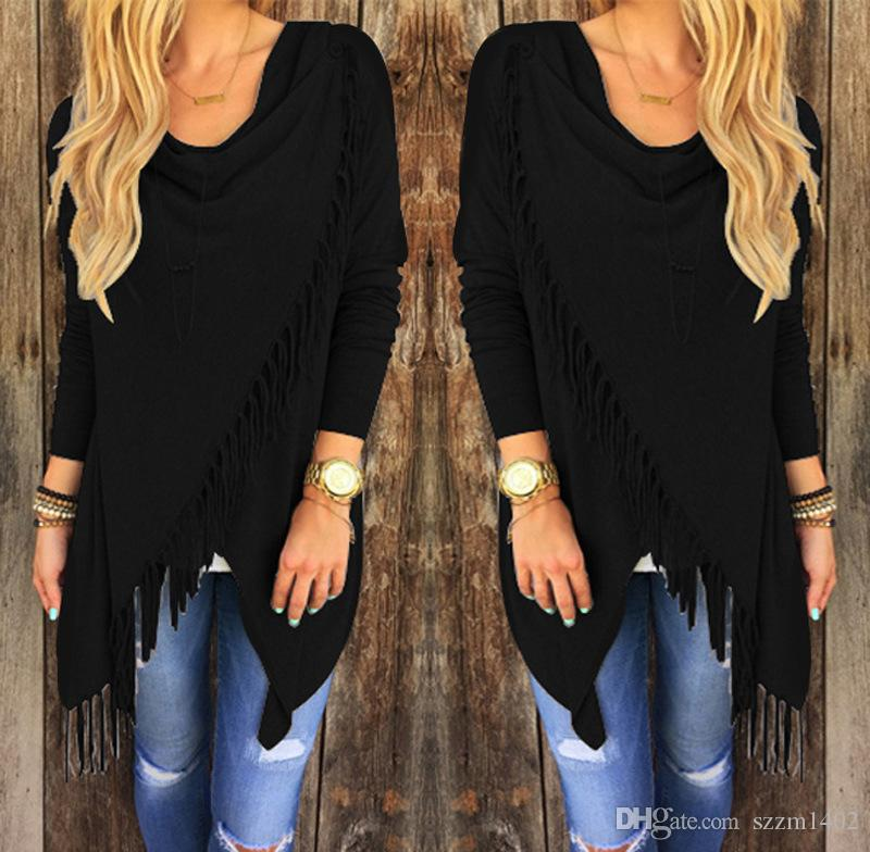 Женская кисточкой свитера пуловер повседневная девушки куртка с длинным рукавом трикотажные бахромой кисточкой кардиган свободные свитер пиджаки зимнее пальто