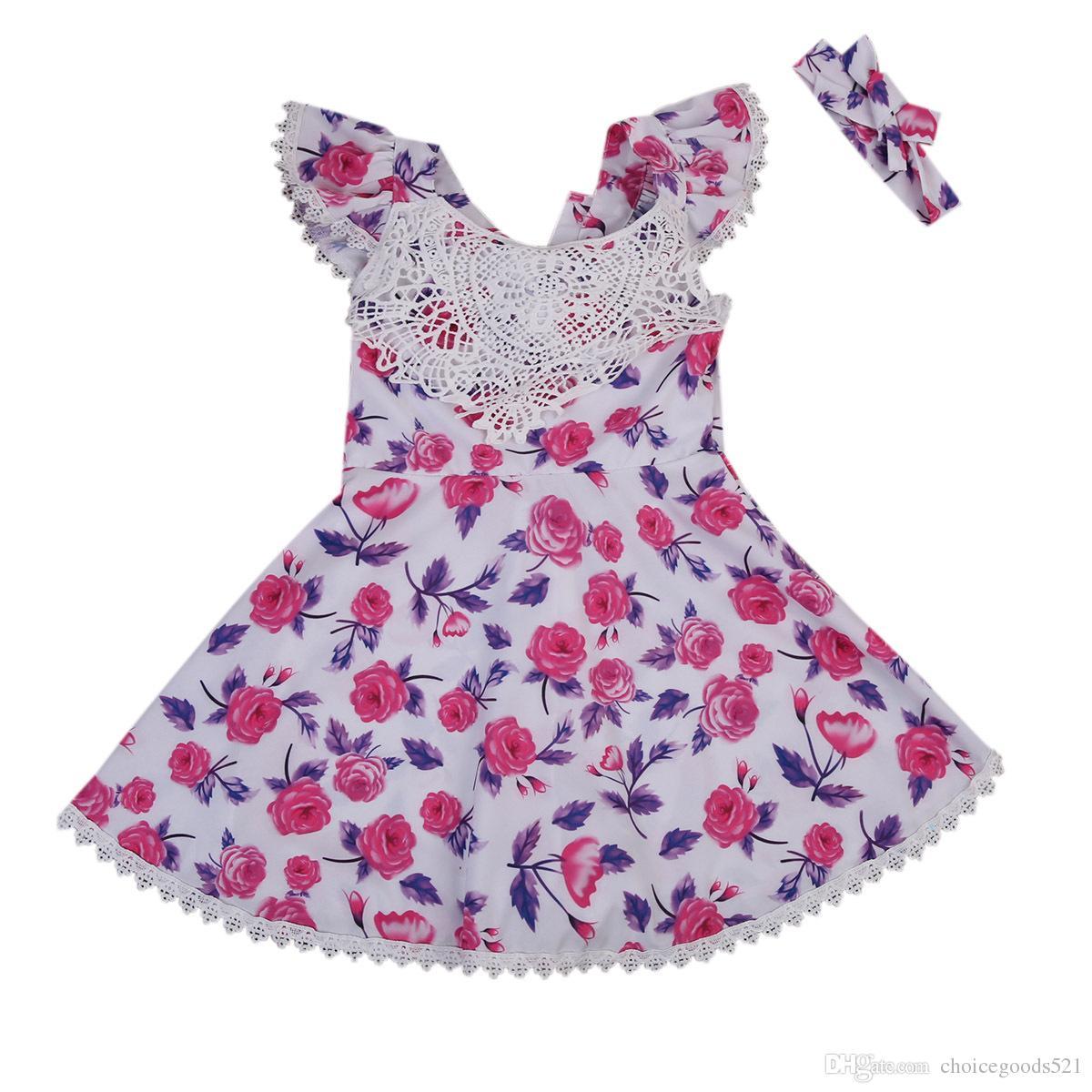 86bca8e82 New Baby Girl Dress Summer Girl Floral Dress +Headwear Short Sleeve ...