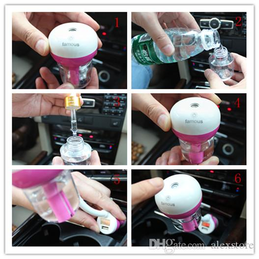 Car Humidifier Air Mist Diffuser Purifier Car Humidifiers Air Cleaning Mini Charging Portable Water Bottle Steam CE FCC RoHS DHL