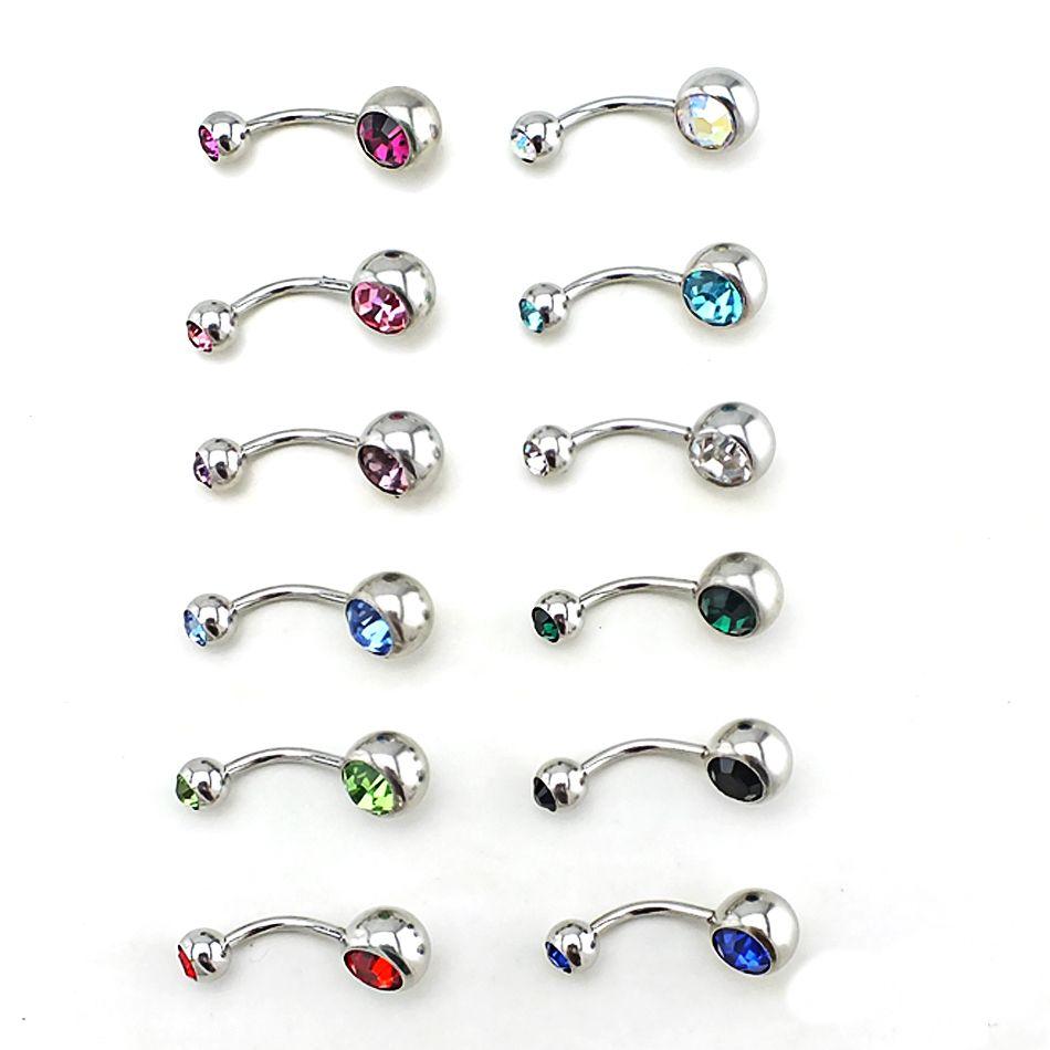 مزيج نمط أزياء خواتم زر البطن 316L الفولاذ المقاوم للصدأ مزدوجة الحديد متعرج السرة هيئة ثقب المجوهرات