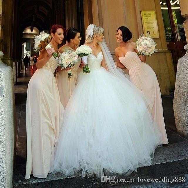 Classic A Line Decent Wedding Dresses 2017 Hot Sweetrheart Tulle Applique Lace Top Cheap Bridal Gowns Robe de Mariage