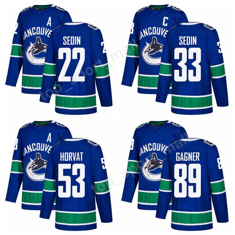 best website 6dcca 3ea33 2017 2018 Season New Vancouver Canucks 33 Henrik Sedin Jersey 89 Sam Gagner  53 Bo Horvat 22 Daniel Sedin Ice Hockey Jerseys Blue Top Quality