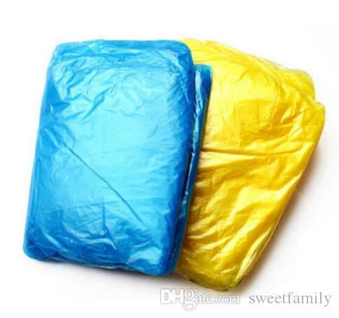 New PE Disposable One Time Raincoats Poncho Rainwear Fashional Travel Rain Coat Rain Wear gifts mixed colors
