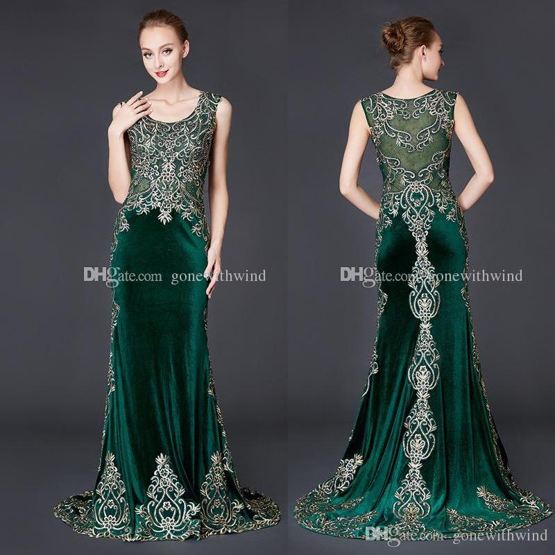 Real Photos Arab Dubai Dark Green Velvet Evening Dresses 2018 ...