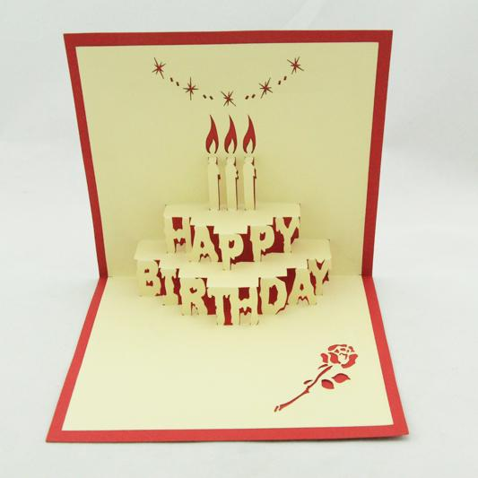 Wholesale Birthday Cake Pop Up Card 3D Kirigami Handmade Greeting Cards Free Shipping