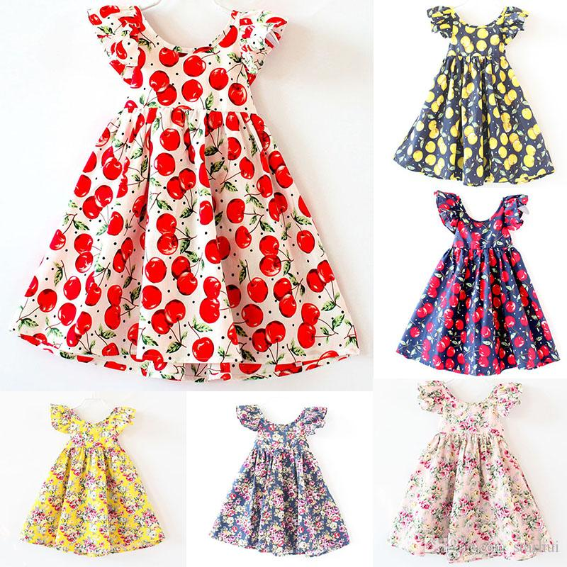f12a4a07ea4ca INS Girls Floral Dress Princess Pink Beach Backless Clothing Cute Kids Baby  Summer Vintage Flower Dress 12 Color Free Shipping WX-D01