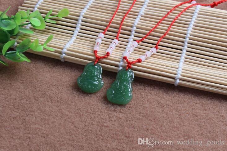 جيد A ++ حبل الساخن قلادة اليشم بوذا قلادة زجاج زخرفة الأحمر حلية WFN587 مع سلسلة مزيج من أجل 20 قطعة الكثير