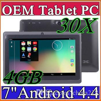 "30X Q88 7"" Android Tablet A33 Quad Core Tablet PC 4GB 512MB Capacitive WIFI Dual Camera 7 inch Tablets PC DHL free shipping A-7PB"