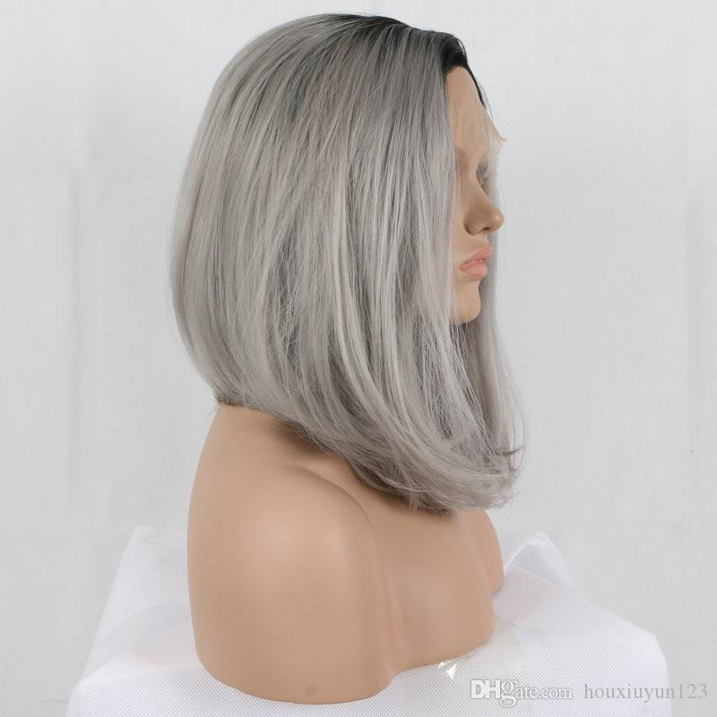 Fashion Ombre Grey Bob Synthetic Lace Front Wig Glueless Black Root/Silver Grey Ombre Short Bob Heat Resistant Hair Wigs For Black Women