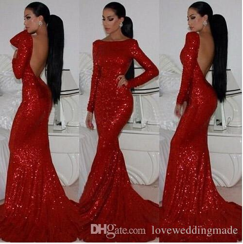 Sparkly Sequined Mermaid Prom Dresses Long Sleeves Scoop Neck Sweepm Train Formal Evening Gowns Vestido Party Dress Sexy Backless