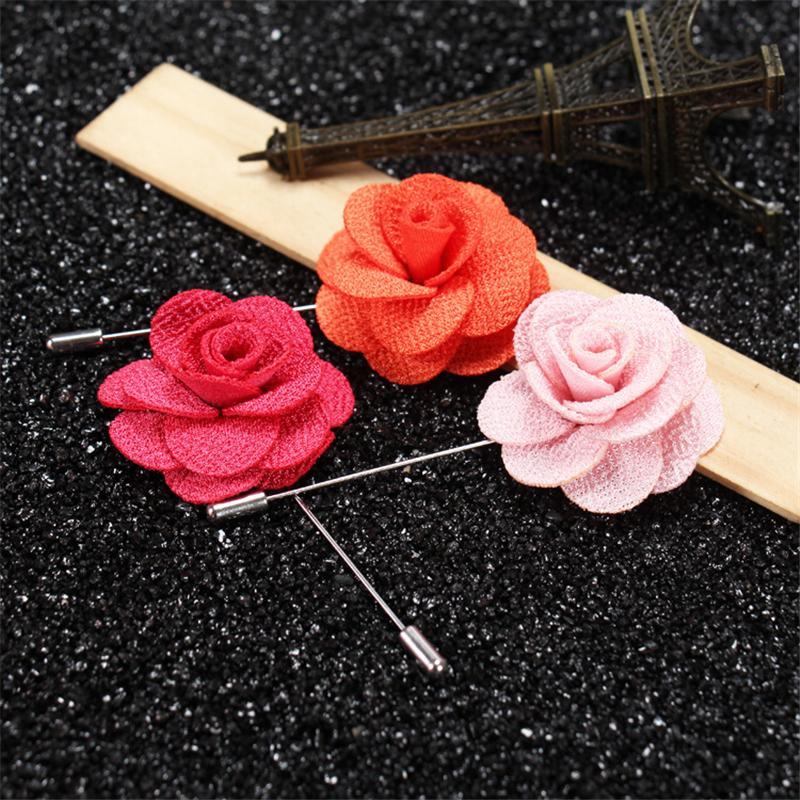 BoYuTe Handmade Lapel Camellia Flower Pin Women Men Brooch Pin Wedding Boutonniere Fashion Jewelry