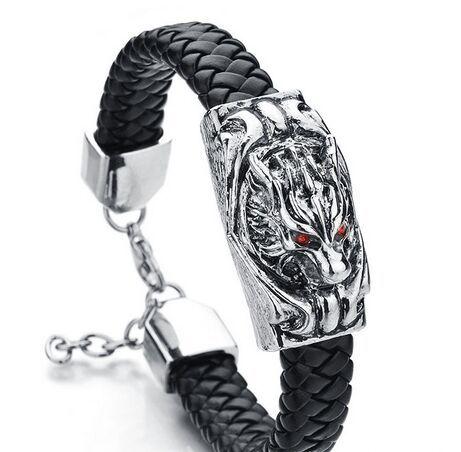 Silver Rock Snake Cord Men Bracelet Bangle Real Leather Stainless Steel Wolf Head Red Eye Bracelets Turkish Men Jewelry