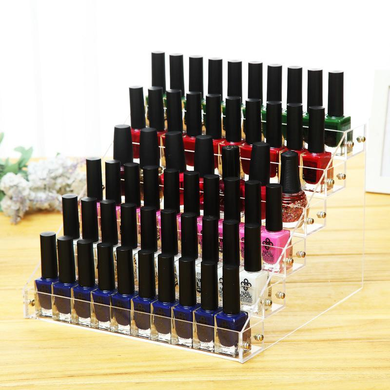 Fashion Clear Acrylic 6 Layers Nail Polish Rack Makeup Organizer Women Cosmetic Tools Storage Shelf Lipstick Holder Jewelry Container