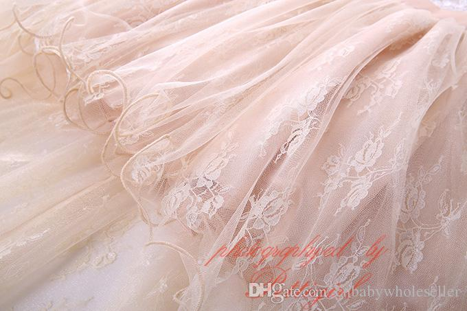 Pettigirl 2017Nouvelle Fille Robe De Bal Sans Manches Fleur Broderie Mousseline De Soie Creux Élégant Fluffly Enfants Noble Vêtements De Mariage GD81219-8L